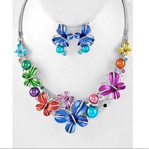 Jewelry - Butterfly Necklace & Post Earring Set